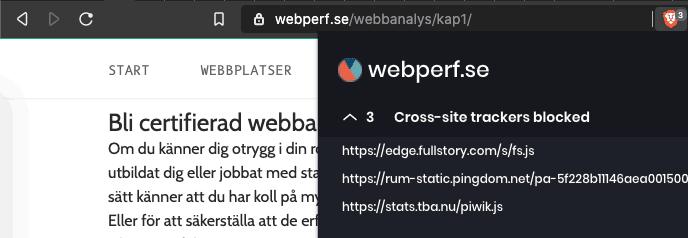 Bild 5: Webbläsaren Brave blockerar exempelvis Pingdoms RUM-tester, men också Fullstory och Webperfs egna Matomo/Piwik för webbanalys.
