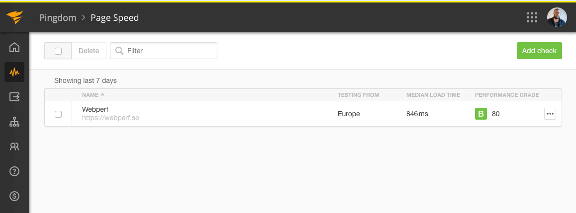 """Bild 12: För de webbsidor du bevakar hos Pingdom får du reda på laddtid och betyget Performance grade""""></p> <p><em>Bild 12: För de webbsidor du bevakar hos Pingdom får du reda på laddtid och betyget """"Performance grade""""</em>.</p><p>Du kan förstås lista fler sidor för att bevaka <em>Page Speed</em> hos Pingdom. Förslagsvis lägger du till alla dina landningssidor och andra viktiga webbsidor du har på webbplatsen.</p><p><img src="""