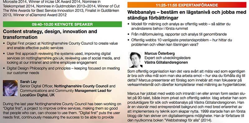 Talar på Webbstrategidagarna Offentlig sektor i september